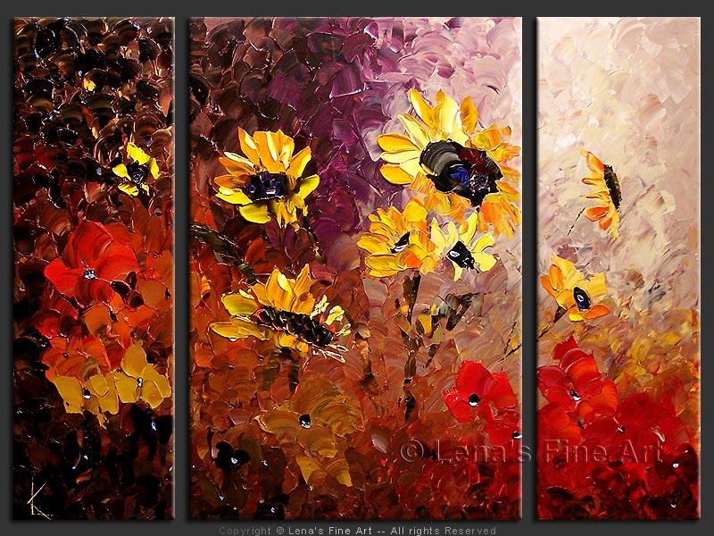 Sunflowers Original Painting By Lena Karpinsky