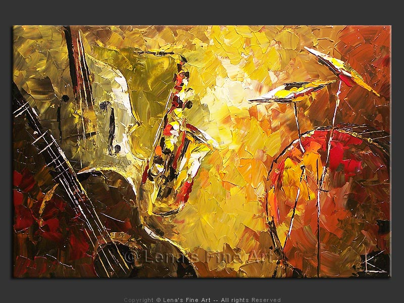 Olive Jazz - original painting by Lena Karpinsky