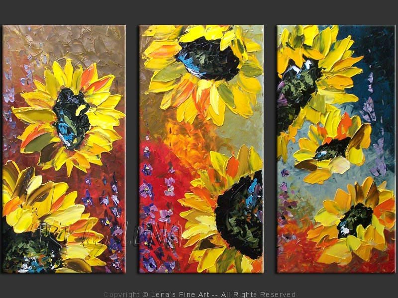 Magnificent Sunflowers Original Canvas Painting By Lena