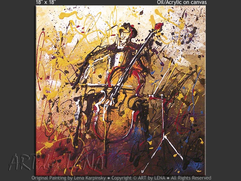 Cellist - contemporary painting