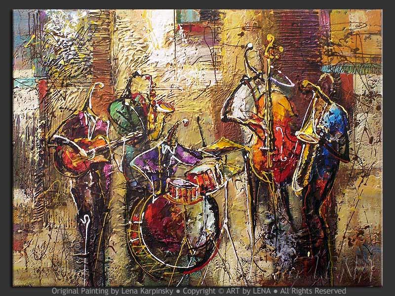 Street Jam - original painting by Lena Karpinsky
