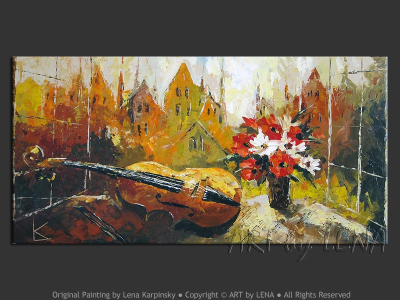 Original canvas painting with violin and flower bouquet