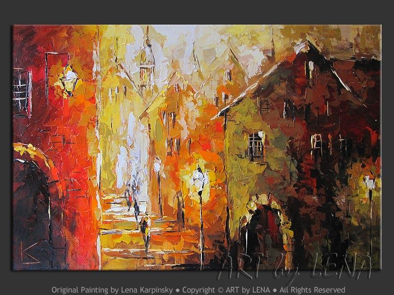 Old Town: Summer Night – 2 - original painting by Lena Karpinsky