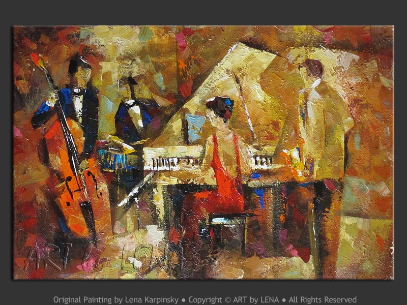Pianist In Red - contemporary painting