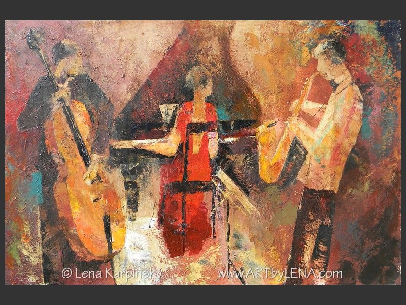 Jazz Cafe Trio - original painting by Lena Karpinsky