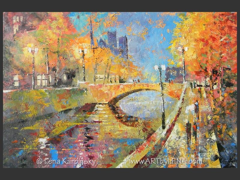 Paris Fall Lanterns - original canvas painting by Lena