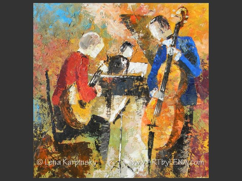 Jazz Guitar Trio - contemporary painting