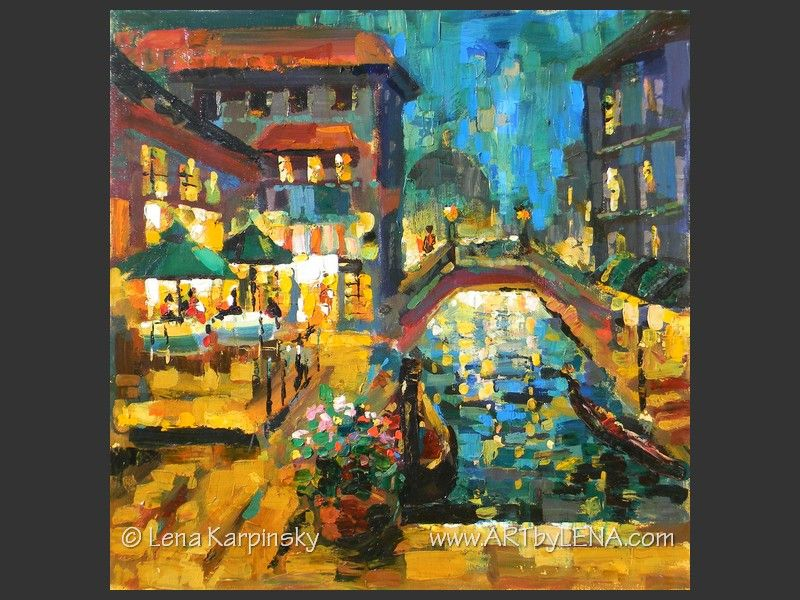 Night Bridge Cafe - original canvas painting by Lena