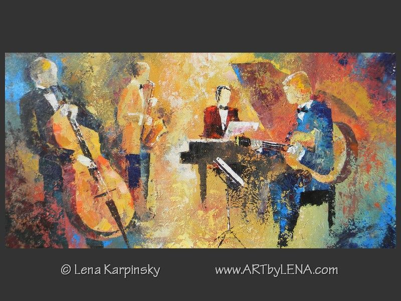 Left-Handed Guitarist - original canvas painting by Lena