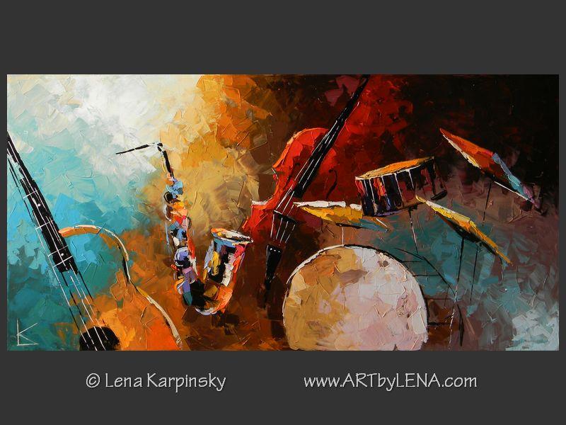Original Jazz Band Paintings Art By Lena