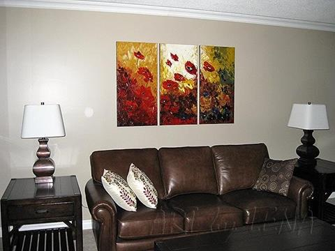 Red poppies original art over sofa