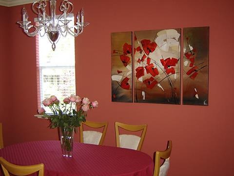 Flower painting in the living room
