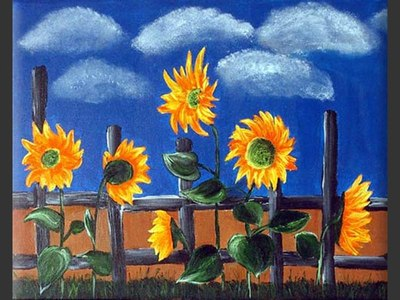 Young Sunflowers - original canvas painting by Lena