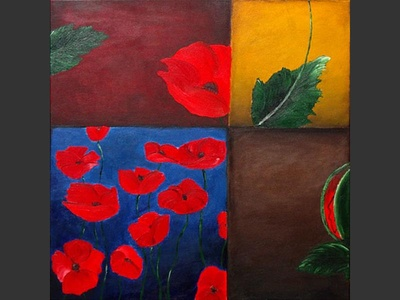 Poppies Puzzle - original painting by Lena Karpinsky