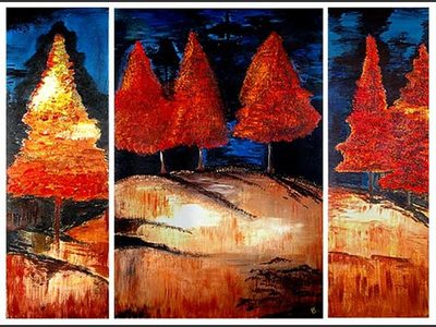 Red Pines Triptych - home decor art