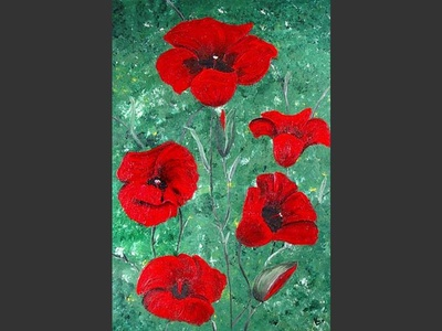 Poppies On Green - art for sale