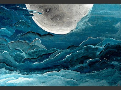 The Moon - original canvas painting by Lena