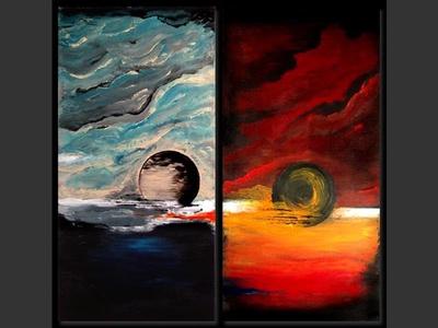 Two moons - original painting by Lena Karpinsky