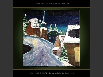Winter Night - original canvas painting by Lena