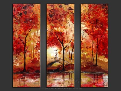 Red Pond Reflections - original canvas painting by Lena