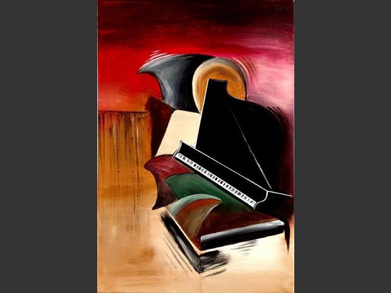 Grand Piano - original canvas painting by Lena