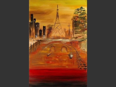 Tower - original painting by Lena Karpinsky