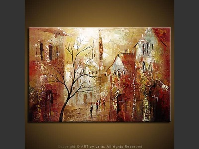 Old Town: First Snow - original painting by Lena Karpinsky