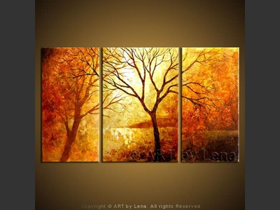 When autumn leaves start to fall - original painting by Lena Karpinsky