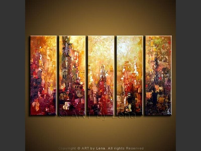 Manhattan Nights - original canvas painting by Lena