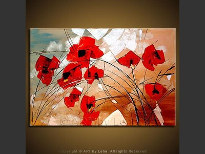 Poppies of Oz - original canvas painting by Lena