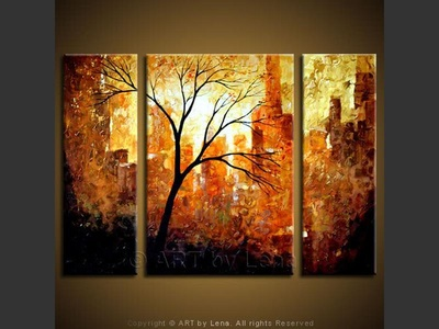 Central Park in the Fall - original canvas painting by Lena