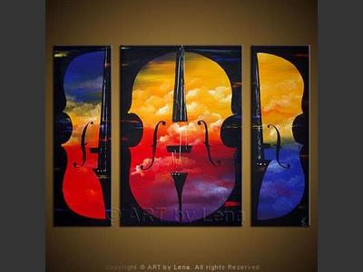 Double Bass - original painting by Lena Karpinsky