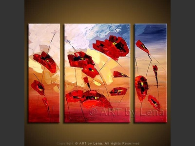 Poppy Field - original canvas painting by Lena