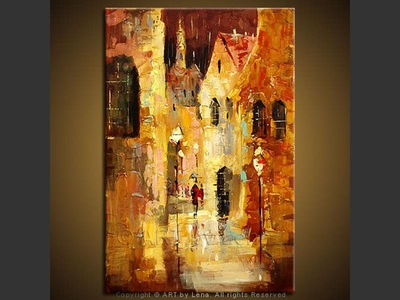 Rain in the Old Town - contemporary painting