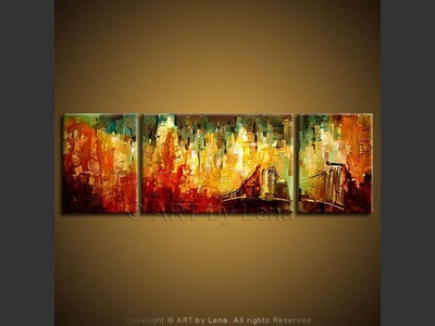 New York, New York - original canvas painting by Lena