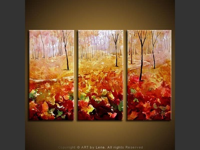 Autumn Path - original canvas painting by Lena