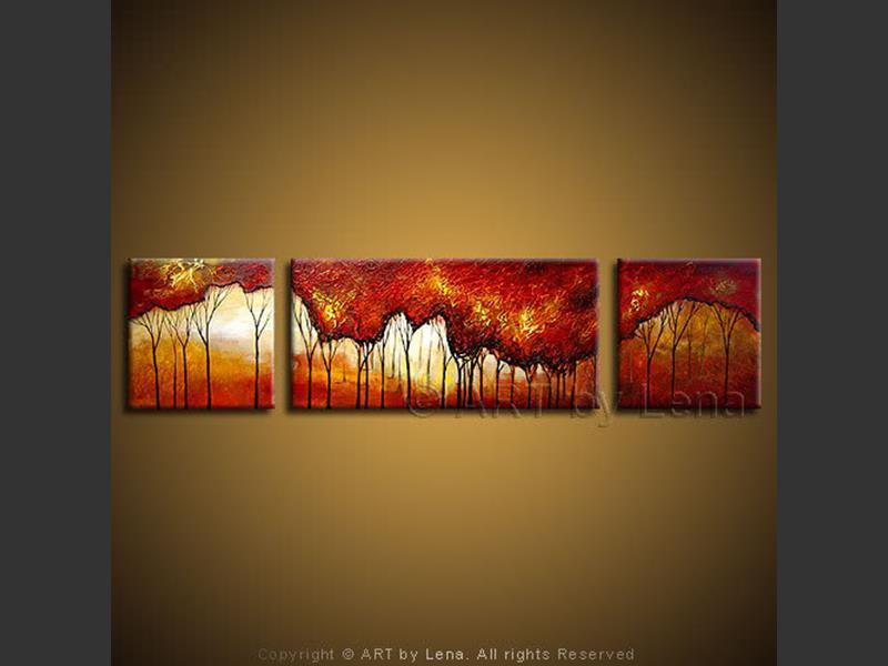 Red Forest - original canvas painting by Lena