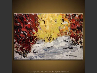 Snow in the Fall - original painting by Lena Karpinsky