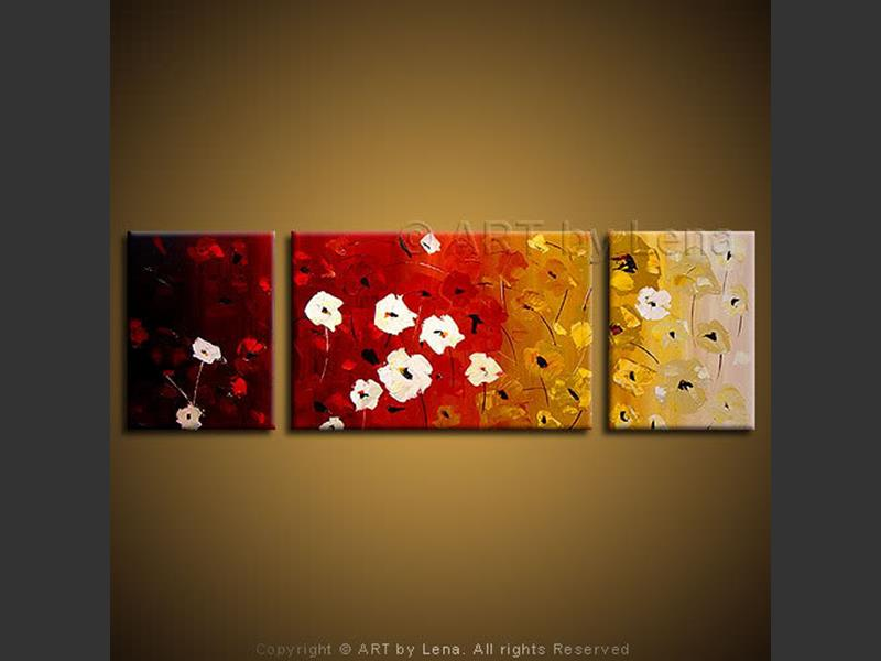 Alpine Flowers - original canvas painting by Lena