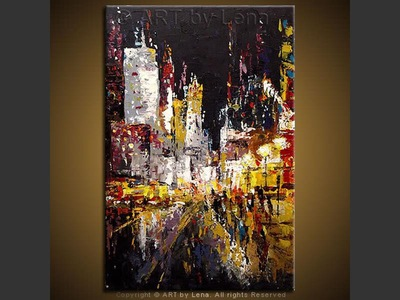 Broadway Lights - original painting by Lena Karpinsky