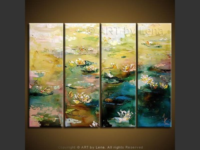 Lily Pond - original canvas painting by Lena