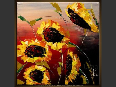 Five Sunflowers - home decor art