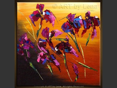 Vita's Irises - original canvas painting by Lena