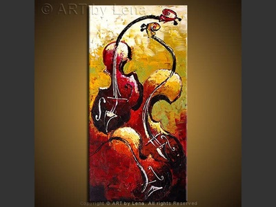 Love Triangle - original canvas painting by Lena