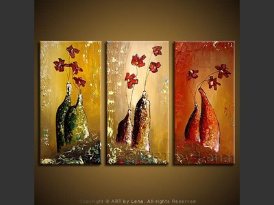 Three Vases - original canvas painting by Lena