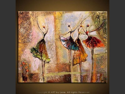 Solo and Trio - original canvas painting by Lena
