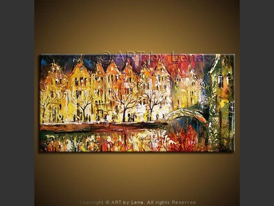 Amsterdam Canal - original painting by Lena Karpinsky