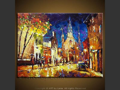 A Montreal Street - original canvas painting by Lena