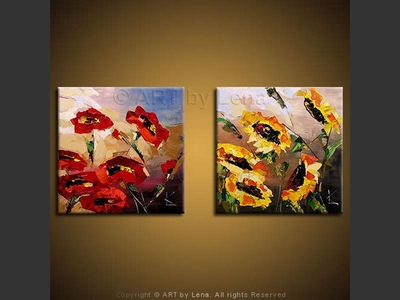 Poppies and Sunflowers - original canvas painting by Lena