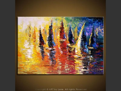 St. George Sunset Regatta - original painting by Lena Karpinsky